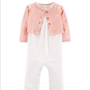 Baby Girl Carter's Cardigan & Jumpsuit Set